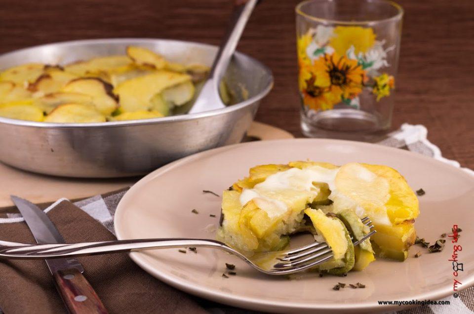 Patate al forno con zucchine e funghi