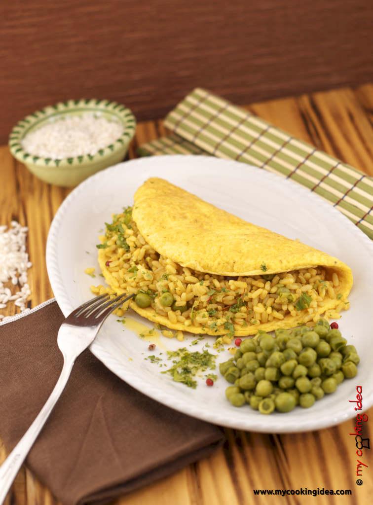 Omelette con riso e piselli