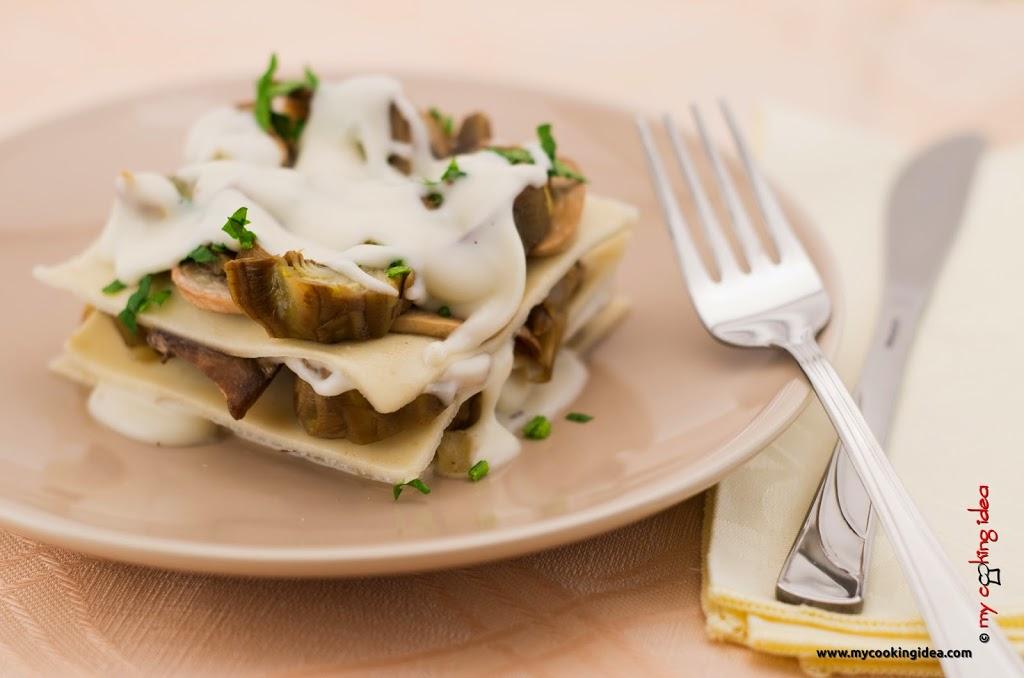 Lasagne con carciofi e funghi senza uova
