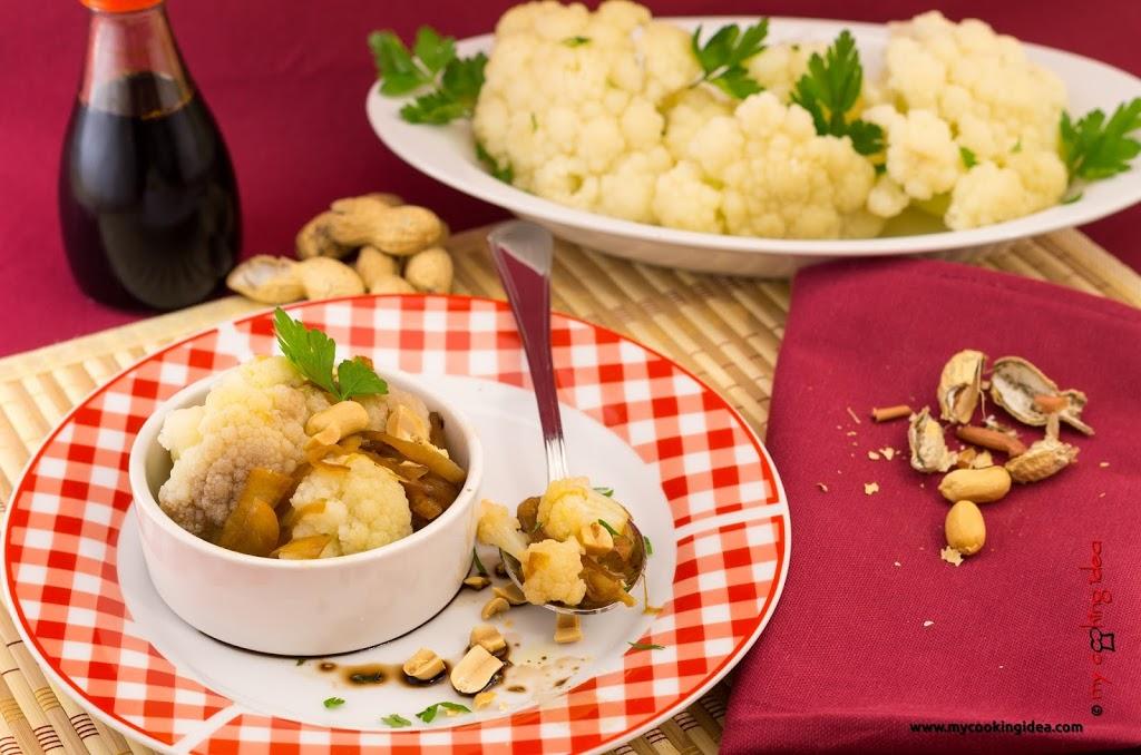 Cavolfiore con salsa di soia e arachidi