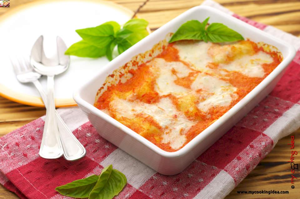 Lasagne al forno con peperoni
