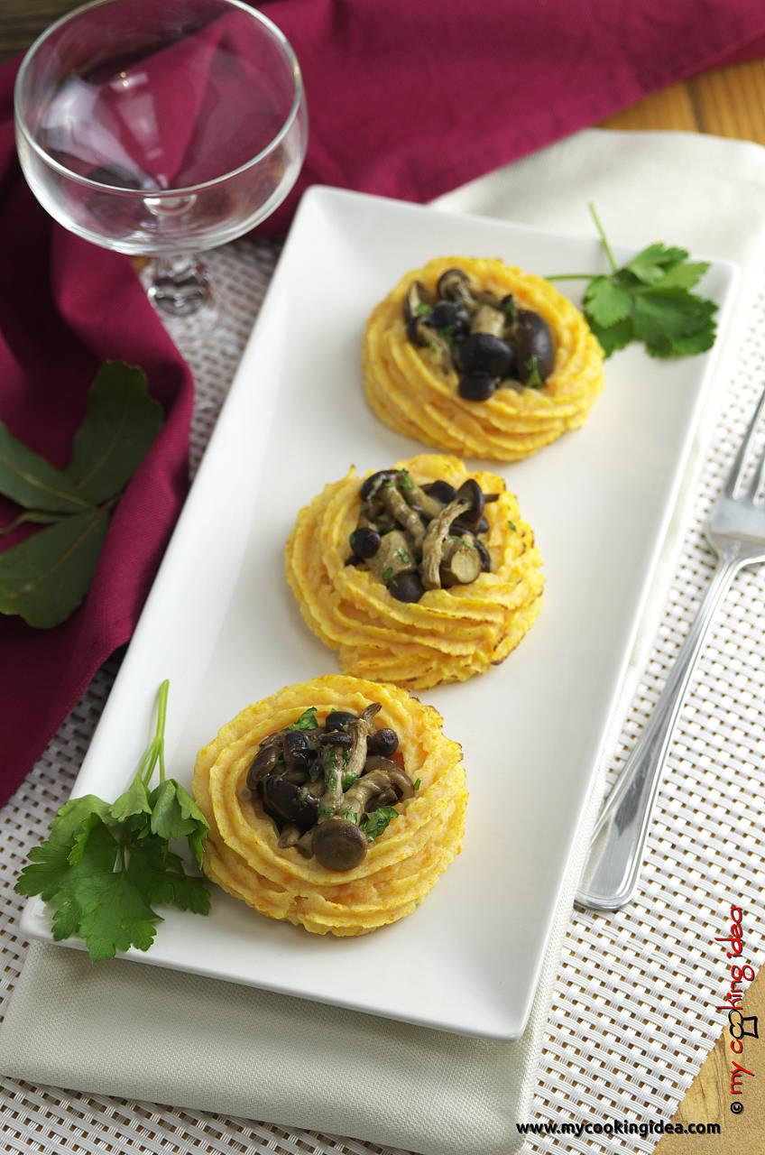 Cestini di patate al forno con funghi pioppini, ricetta antipasto