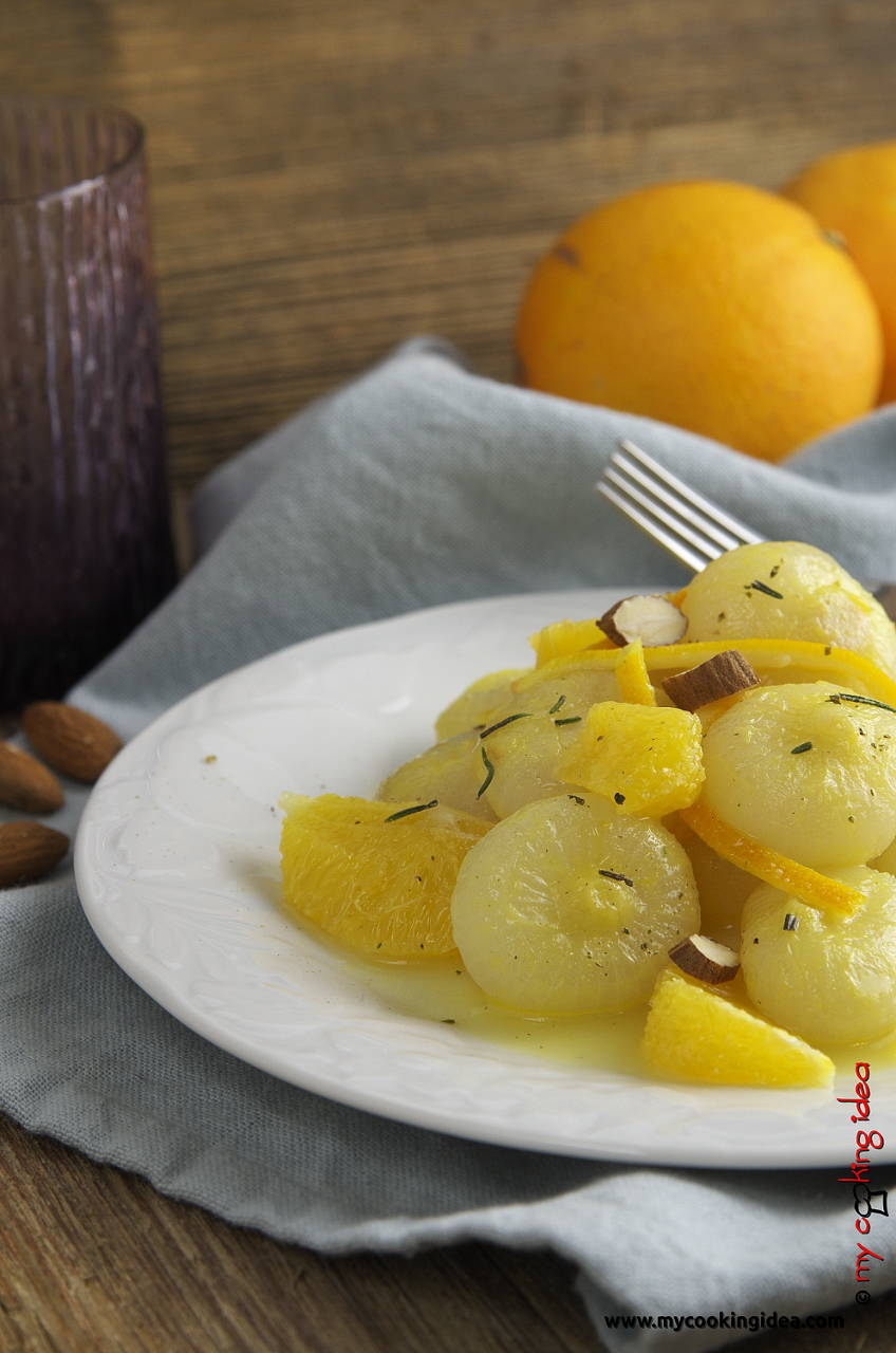 Cipolline in agrodolce all'arancia. idea contorno