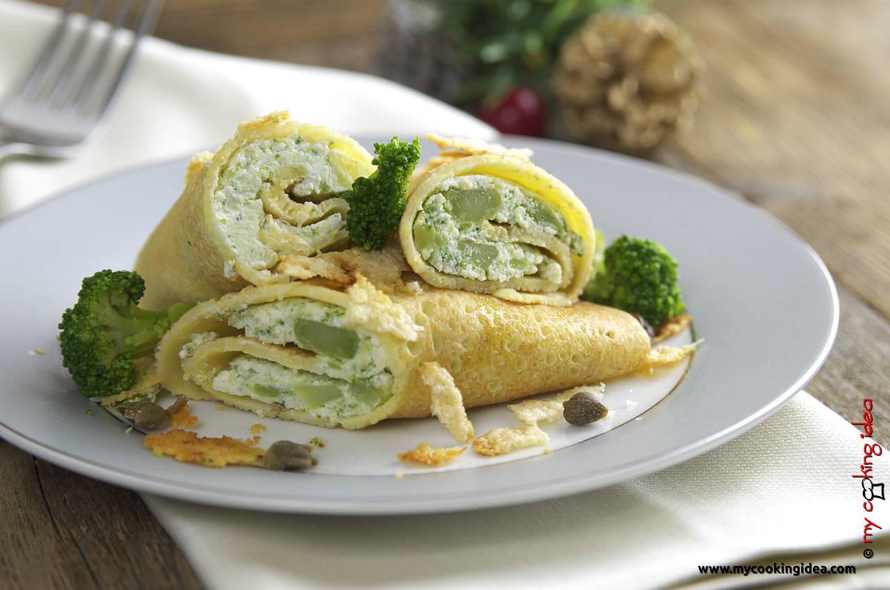 Crespelle di mais con ricotta e broccoli, ricetta vegetariana