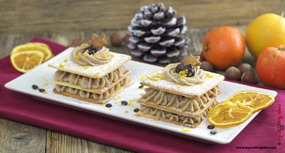 Millefoglie con crema di castagne , ricetta dolce
