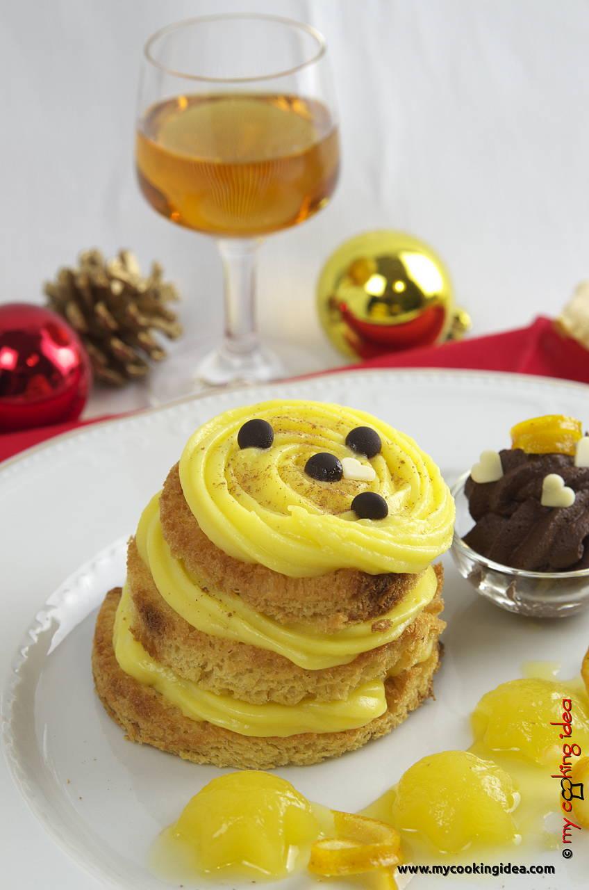 Millefoglie di pandoro con crema all'arancia, ricetta dolce