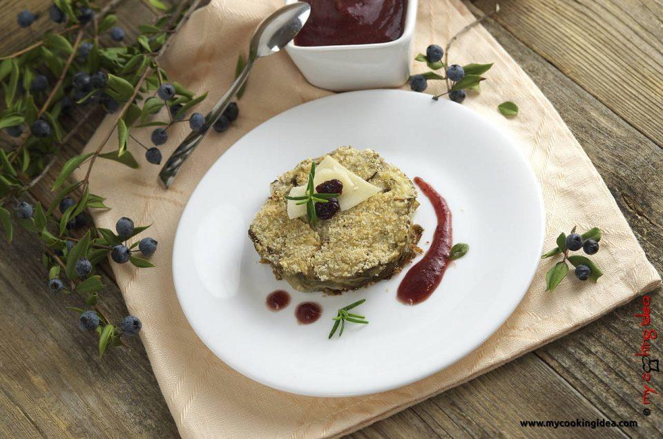 Millefoglie di topinambur con salsa ai mirtilli rossi , ricetta antipasto, contorno