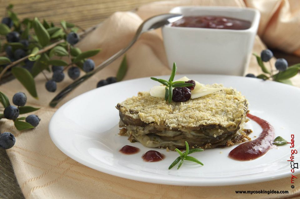 Millefoglie di topinambur con salsa ai mirtilli rossi, ricetta vegetariana