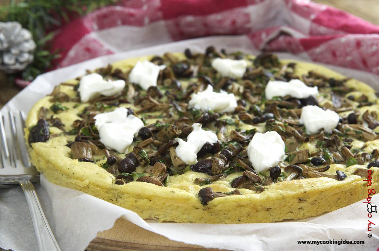 Tortino di ceci e patate con funghi, ricetta secondo vegetariano
