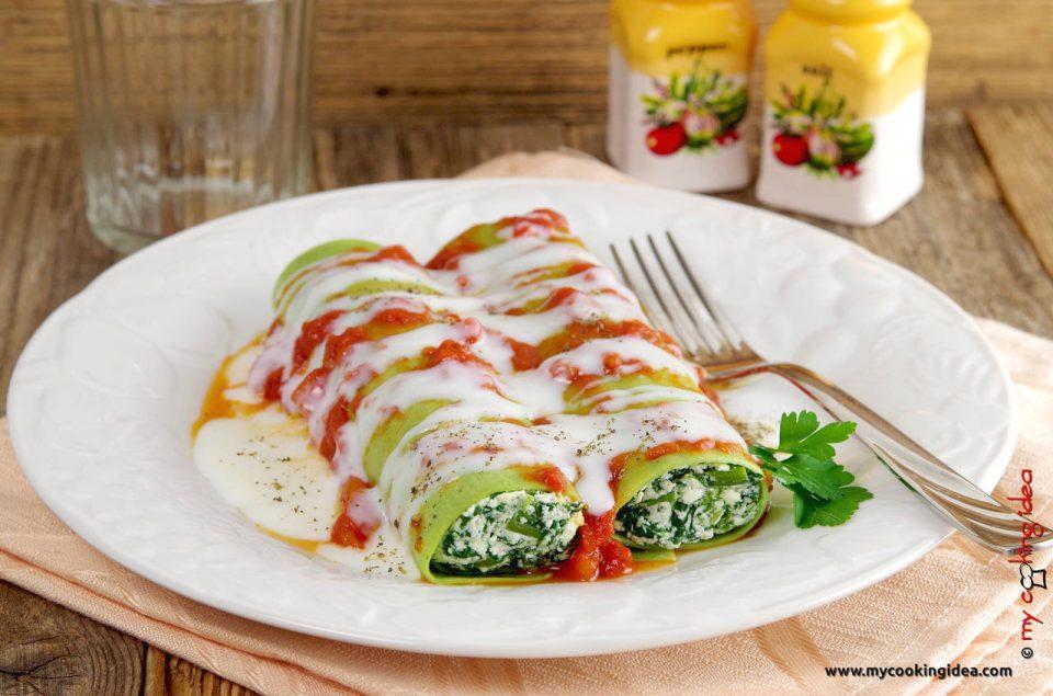 Cannelloni verdi con spinaci, primi piatto vegetariano