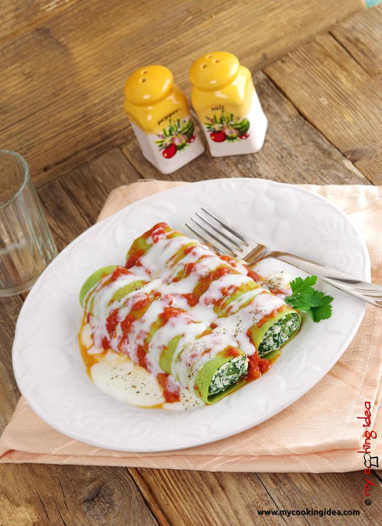 Cannelloni verdi con spinaci , ricetta primi piatti