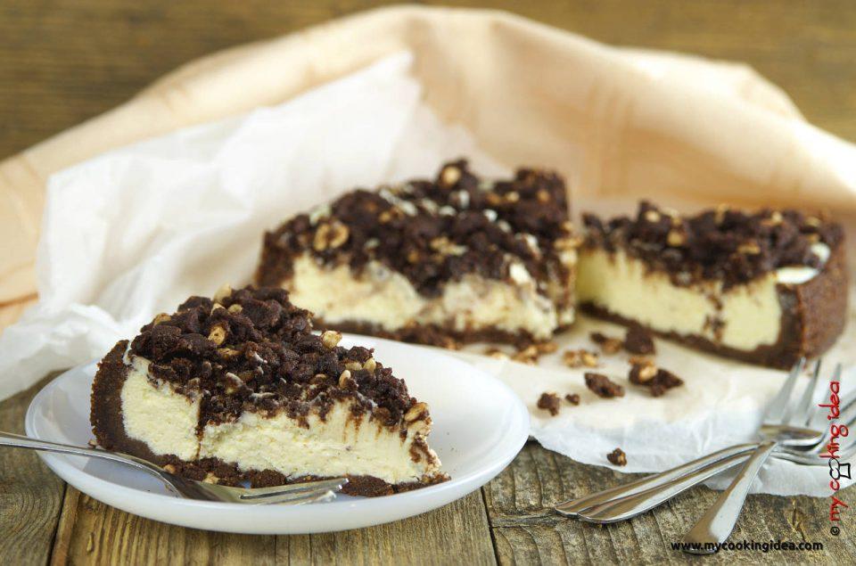 Cheesecake con crumble al cacao , ricettta
