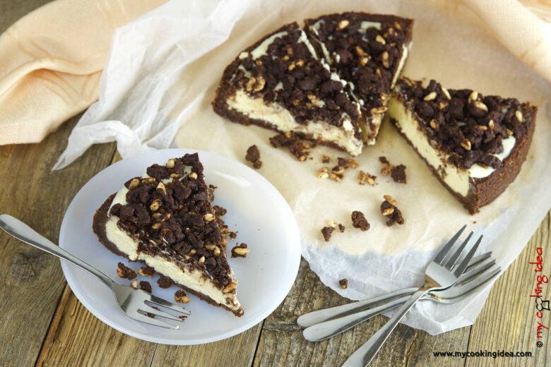 Cheesecake con crumble al cacao