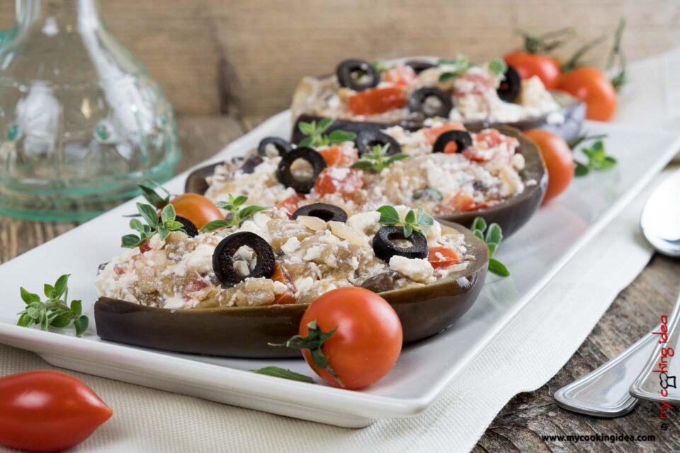 Melanzane con feta | Ricetta verdure ripiene